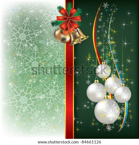 Abstract Christmas green background with decorations and bells - stock photo