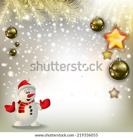 Abstract Christmas greeting with snowman and decorations - stock photo