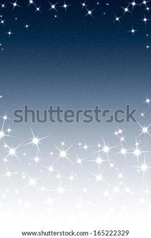 Abstract Christmas Night Sky Frame with Stars Blue White Gradient - stock photo