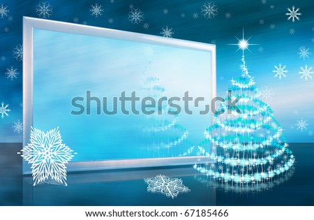Abstract christmas or new year card with tv screen and stars christmas-tree - stock photo