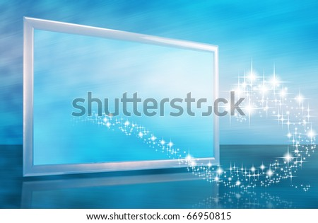 Abstract christmas or new year card with tv screen and stars wave - stock photo