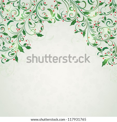 Abstract Christmas ornament with holly, Illustration. - stock photo