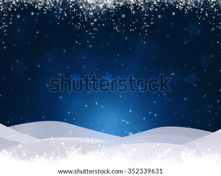 abstract christmas snow blue background with blurry lights