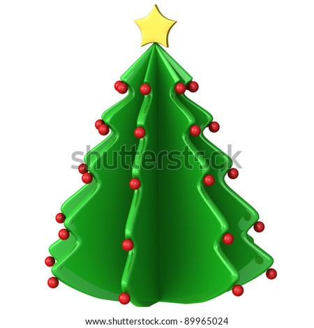 Abstract Christmas tree icon 3d