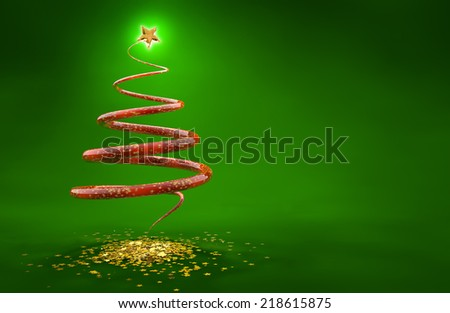 abstract christmas tree isolated on green background - stock photo