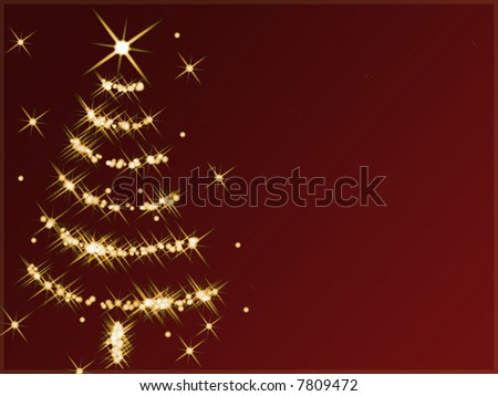 Abstract christmas tree made of golden twinkling stars against red background. - stock photo