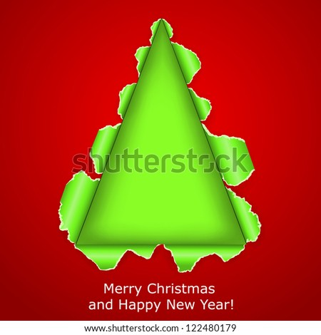 Abstract Christmas tree made �¢??�¢??of torn paper on red background. Raster copy of vector illustration - stock photo