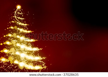 Abstract christmas tree on dark red background