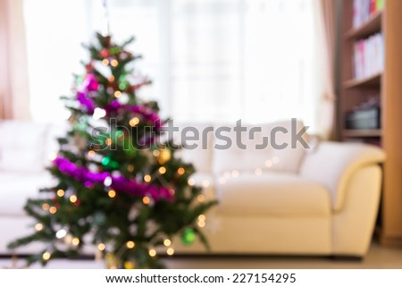 abstract christmas tree with defocused lights - stock photo