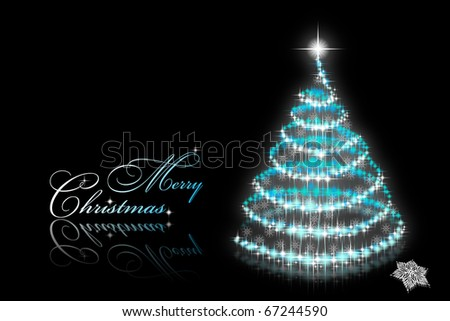Abstract christmas tree with snowflakes on black background - stock photo