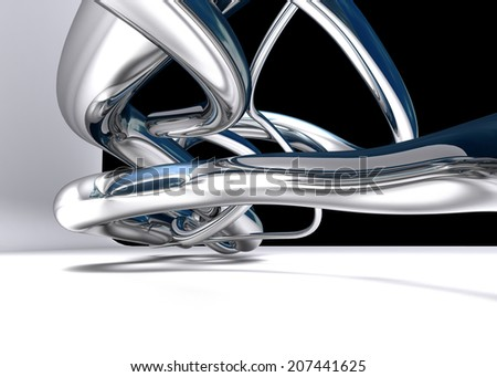 abstract chrome lines on white background