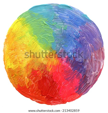 Abstract circle acrylic and watercolor painted background. Impressionism style. - stock photo