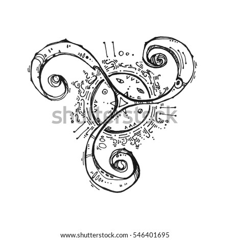 Abstract circle magic symbol. Illustration drawn by hand. The mysterious sign. It can be used for printing on t-shirts or ideas for tattoos. Nice element for your project.