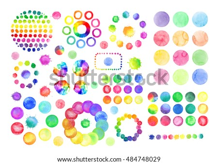 Abstract circles set. Watercolor wreath with colorful rainbow drops.
