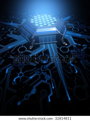 Abstract Circuit. Concept of technology and future. CPU (Central Processing Unit) in the center of the hexagonal circuit. - stock photo