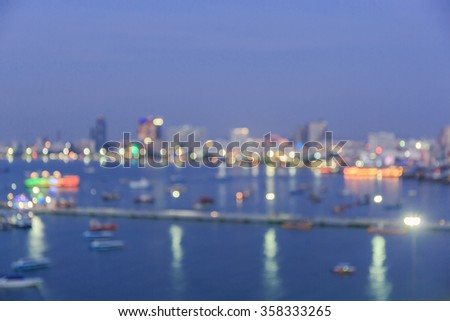 Abstract circular bogey background of Pattaya bay light - stock photo