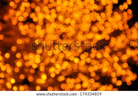 Abstract Circular Bokeh Background From Yellow Light Tree