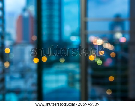 Abstract circular bokeh, cityscape of Bangkok night background - stock photo