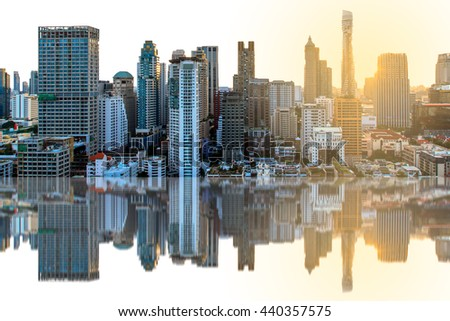 abstract city blur reflection on glass.Panoramic and perspective view  high rise building skyscraper commercial of future. Business concept of success industry tech architecture - stock photo