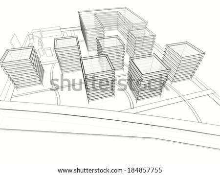 abstract city buildings design - stock photo