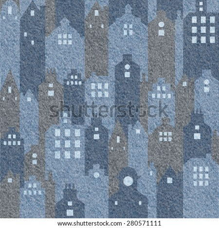 Abstract city buildings - seamless background - blue jeans texture - stock photo