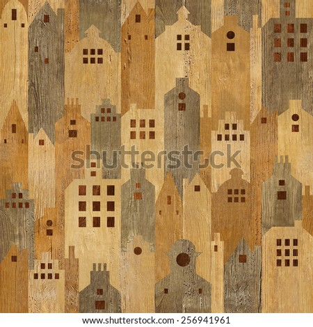 Abstract city buildings - seamless background - wooden surface - stock photo