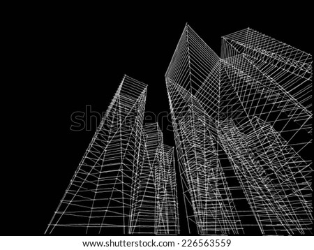 abstract city buildings sketch - stock photo