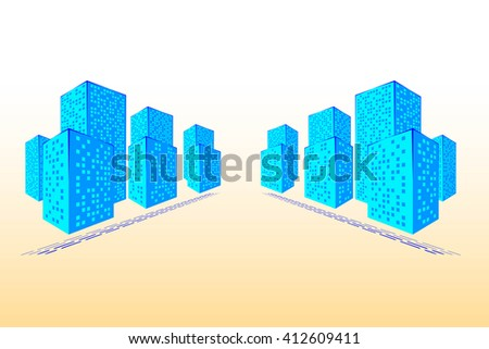 Abstract City. Graphical Blue Silhouette. 3d Illustration. Raster Illustration - stock photo
