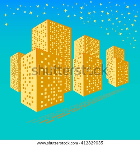 Abstract City. Graphical Orange Silhouette. 3d Illustration. Raster Illustration - stock photo