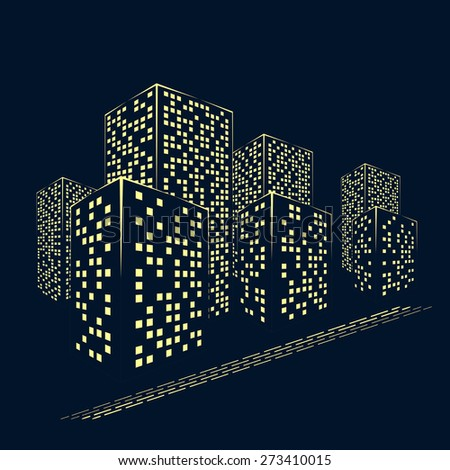 abstract city graphical yellow silhouette isolated on dark background. raster illustration - stock photo