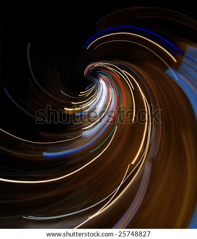 Abstract city lights composition: taken from aerial view of a night crossroad by fast camera movement. - stock photo
