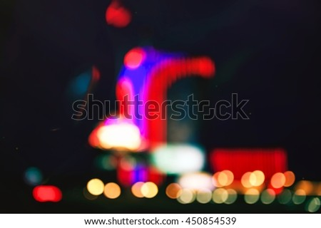 Abstract city lights. Night vision of Las Vegas. - stock photo