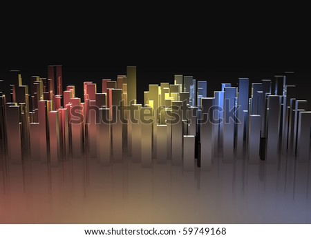 abstract city lights with reflection - stock photo