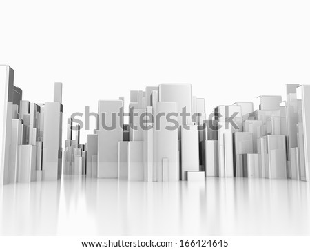 Abstract city made of metal cubes  - stock photo