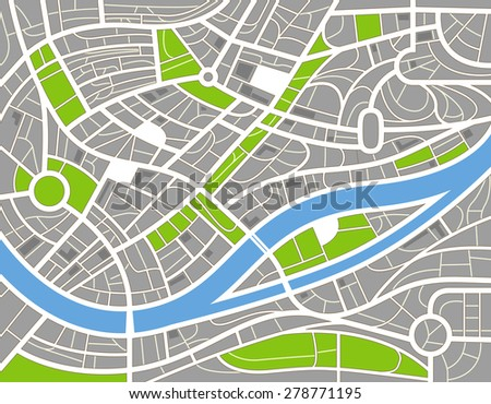 Abstract city map illustration. Raster version  - stock photo