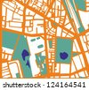 Abstract city map with orange streets, buildings, green park and dark blue ponds. Simply draft pop art town plan illustration - stock