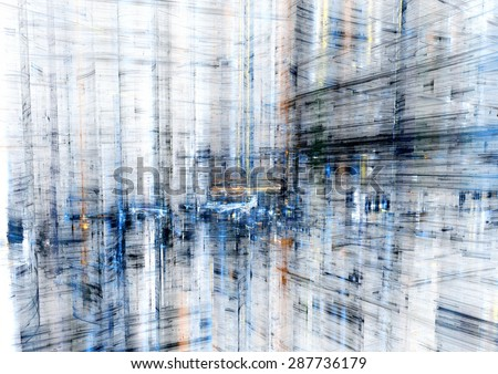 Abstract city, modern fractal design - stock photo
