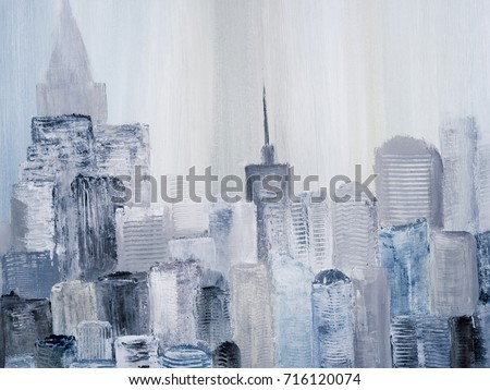 Abstract City Of Acrylic Painting On Canvas Creative Hand Painted Background Texture