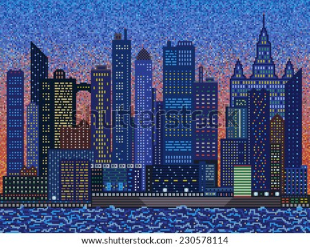 abstract city on sunset mosaic background stock illustration