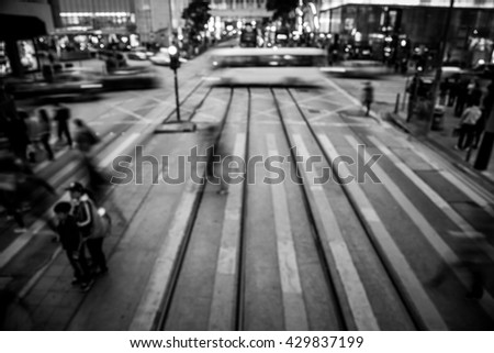Abstract City People Background in Black and White