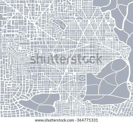 Abstract city plan. Editable street map of a fictional generic town. Abstract urban background. - stock photo