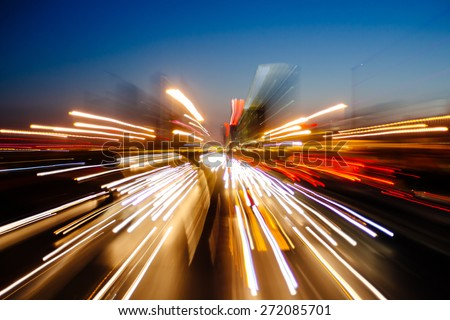 Abstract city scene in the night - stock photo