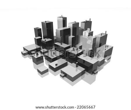 abstract city skyline - stock photo