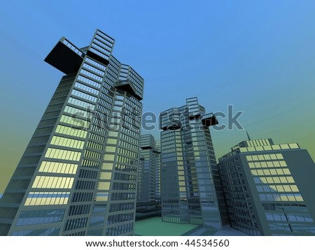 abstract city sphere - blue sky - stock photo