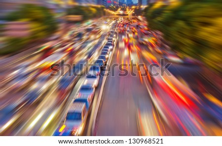 Abstract city traffic - stock photo