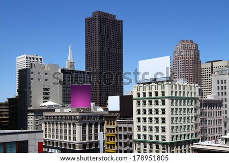 abstract cityscape at daytime, close up - stock photo