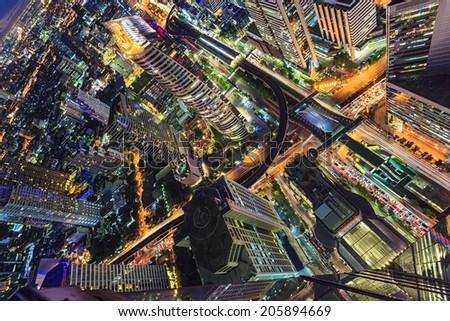 Abstract cityscape in Bangkok, Thailand - stock photo