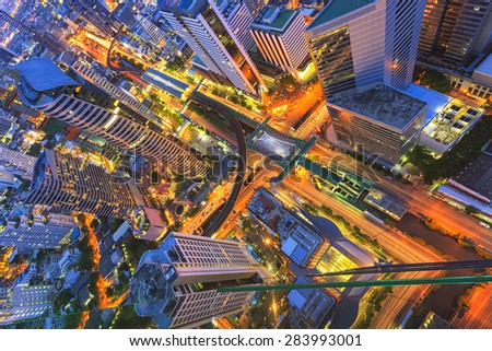 Abstract cityscape, topview - stock photo