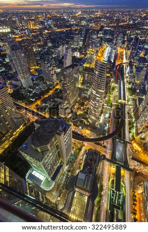 Abstract cityscape view in Bangkok, Thailand - stock photo