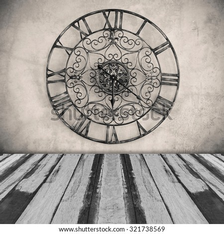 Abstract classic clock on wall with planks floor  - stock photo